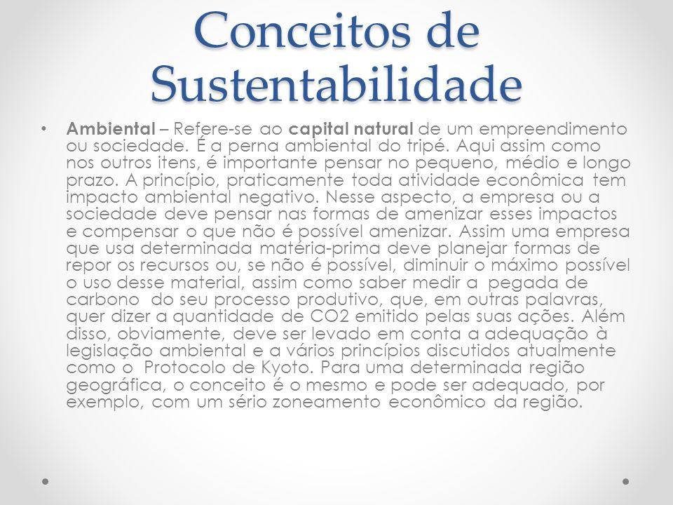 Conceitos de Sustentabilidade Ambiental – Refere-se ao capital natural de um empreendimento ou sociedade.