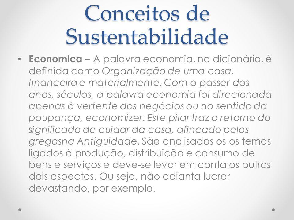 Conceitos de Sustentabilidade Economica – A palavra economia, no dicionário, é definida como Organização de uma casa, financeira e materialmente.