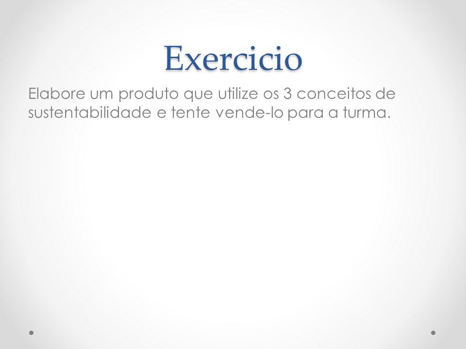 Exercicio Elabore um produto que utilize os 3 conceitos de sustentabilidade e tente vende-lo para a turma.