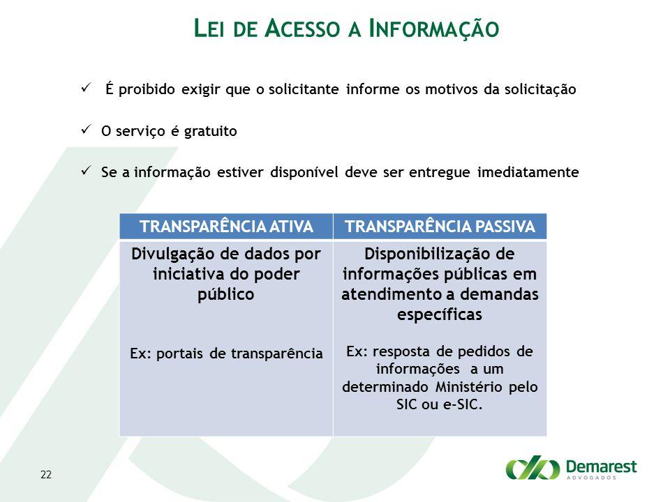 É proibido exigir que o solicitante informe os motivos da solicitação O serviço é gratuito Se a informação estiver disponível deve ser entregue imedia