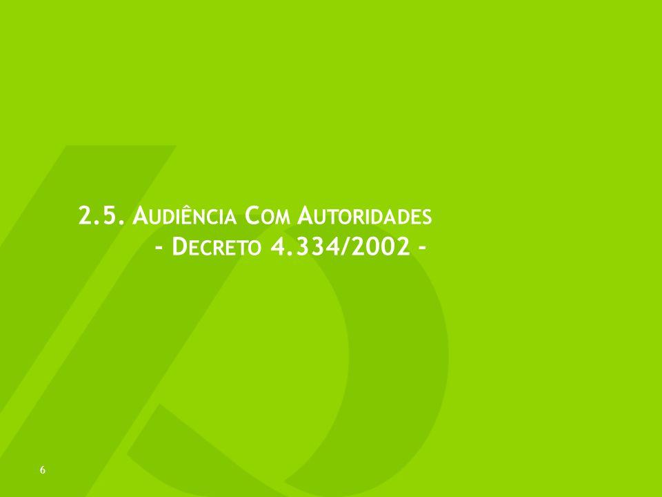 © 2013 Demarest Advogados www.demarest.com.br Todos os Direitos Reservados A UDIÊNCIAS COM A UTORIDADES Pedido de audiência deve ser efetuado por escrito (ofício, fax, e-mail), contendo: (i) identificação dos participantes, (ii) assunto e (iii) data e hora REGRA GERALEXCEÇÃO autoridade acompanhada de outro servidor reuniões externas pode ser dispensado o acompanhante se desnecessário e função do tema Rdas audiências e dos assuntosNão se aplica em reunião relacionadas à administração tributária, supervisão bancária, segurança e sujeitas a sigilo legal