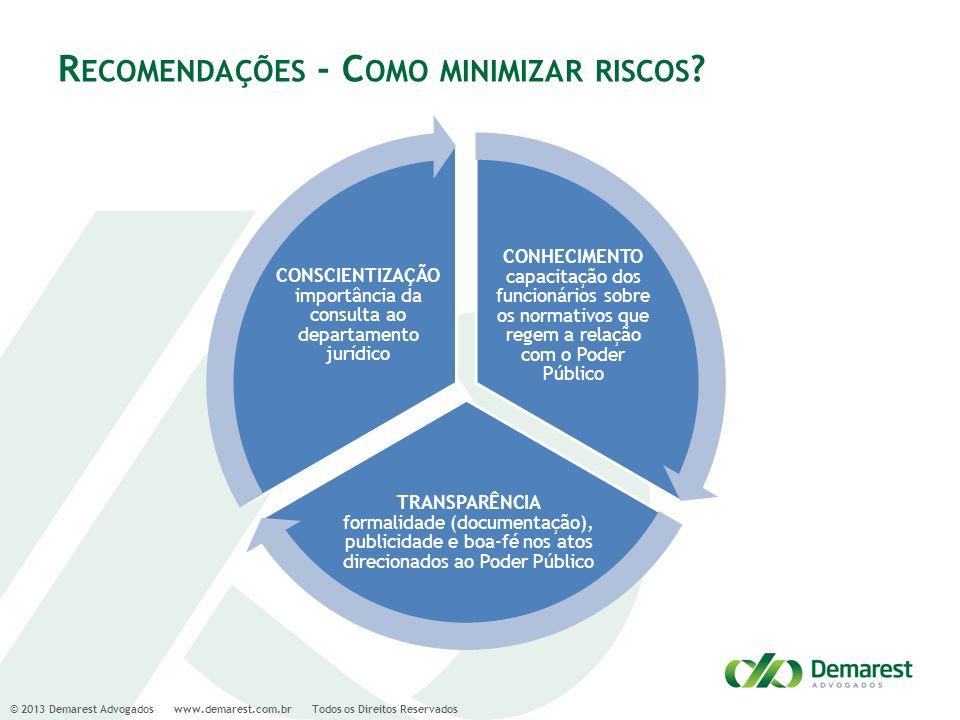 © 2013 Demarest Advogados www.demarest.com.br Todos os Direitos Reservados R ECOMENDAÇÕES - C OMO MINIMIZAR RISCOS ? CONHECIMENTO capacitação dos func