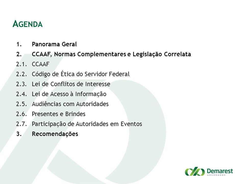 A GENDA 1.Panorama Geral 2.CCAAF, Normas Complementares e Legislação Correlata 2.1.CCAAF 2.2.Código de Ética do Servidor Federal 2.3.Lei de Conflitos
