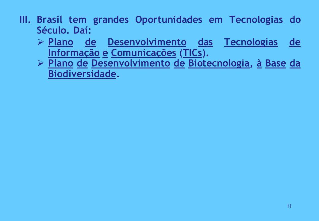 III.Brasil tem grandes Oportunidades em Tecnologias do Século.