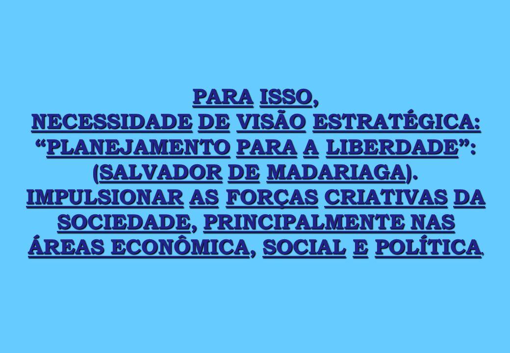 PARA ISSO, NECESSIDADE DE VISÃO ESTRATÉGICA:PLANEJAMENTO PARA A LIBERDADE: (SALVADOR DE MADARIAGA).