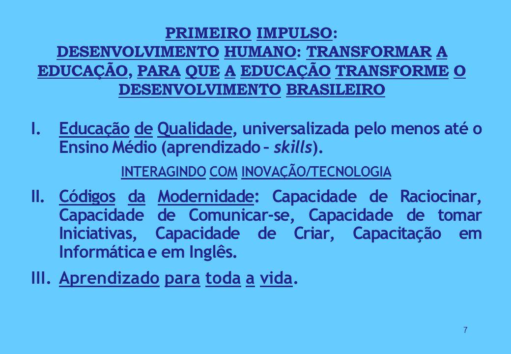 I.Educação de Qualidade, universalizada pelo menos até o Ensino Médio (aprendizado – skills).