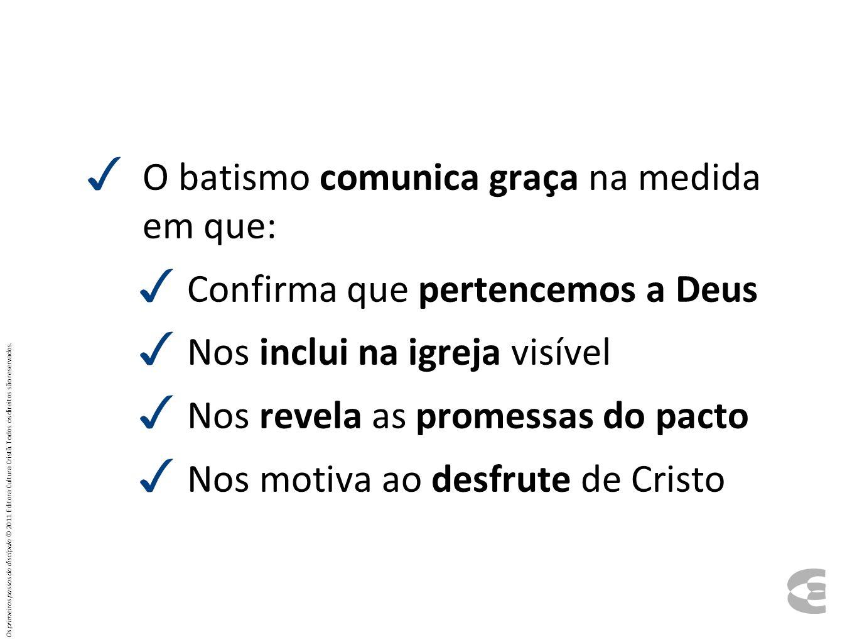 O batismo comunica graça na medida em que: Confirma que pertencemos a Deus Nos inclui na igreja visível Nos revela as promessas do pacto Nos motiva ao