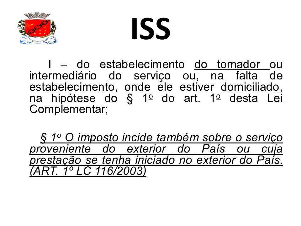 ISS I – do estabelecimento do tomador ou intermediário do serviço ou, na falta de estabelecimento, onde ele estiver domiciliado, na hipótese do § 1 o