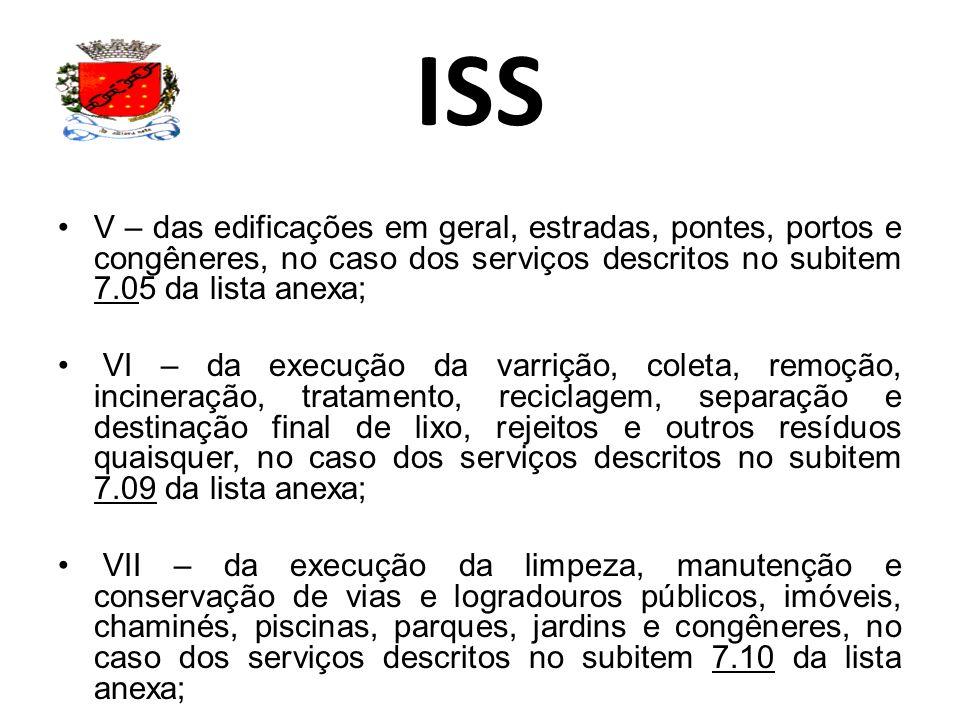 ISS V – das edificações em geral, estradas, pontes, portos e congêneres, no caso dos serviços descritos no subitem 7.05 da lista anexa; VI – da execuç
