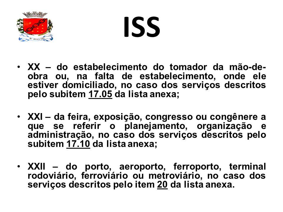 ISS XX – do estabelecimento do tomador da mão-de- obra ou, na falta de estabelecimento, onde ele estiver domiciliado, no caso dos serviços descritos p
