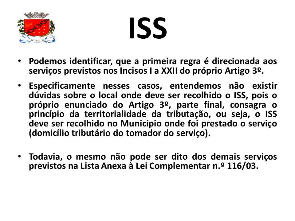 ISS Podemos identificar, que a primeira regra é direcionada aos serviços previstos nos Incisos I a XXII do próprio Artigo 3º. Especificamente nesses c