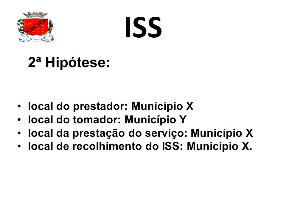 ISS 2ª Hipótese: local do prestador: Município X local do tomador: Município Y local da prestação do serviço: Município X local de recolhimento do ISS
