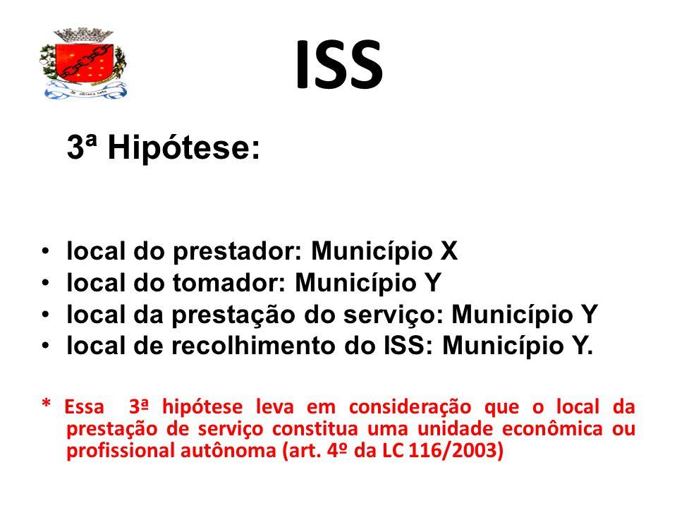 ISS 3ª Hipótese: local do prestador: Município X local do tomador: Município Y local da prestação do serviço: Município Y local de recolhimento do ISS