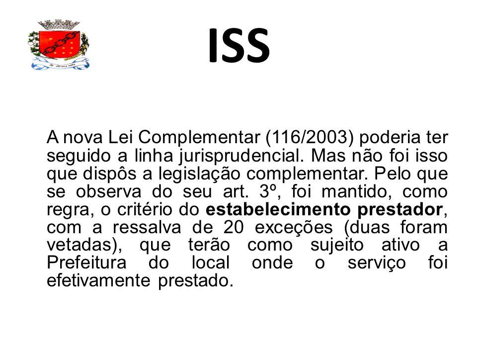 ISS A nova Lei Complementar (116/2003) poderia ter seguido a linha jurisprudencial. Mas não foi isso que dispôs a legislação complementar. Pelo que se