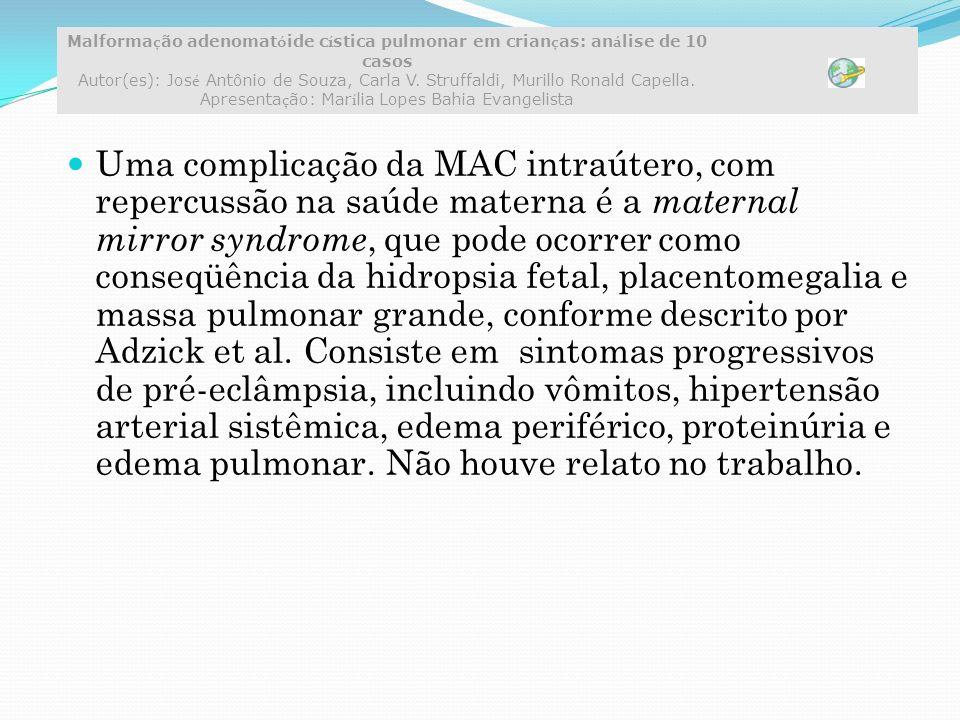 Uma complicação da MAC intraútero, com repercussão na saúde materna é a maternal mirror syndrome, que pode ocorrer como conseqüência da hidropsia fetal, placentomegalia e massa pulmonar grande, conforme descrito por Adzick et al.