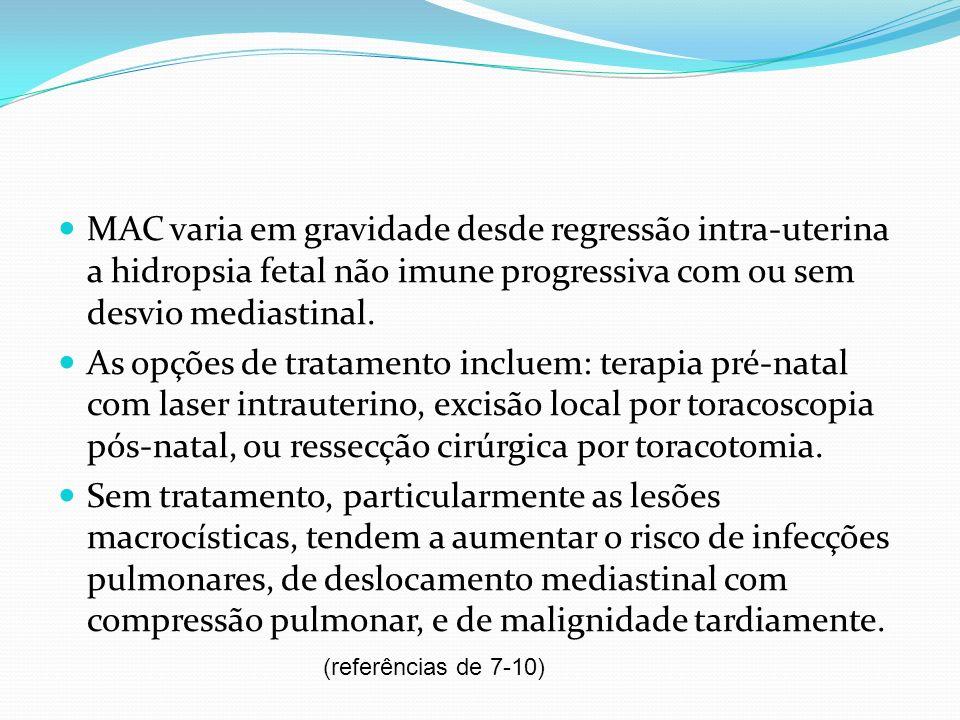 São descritos, originalmente por Stocker, 3 tipos de MACC do pulmão: 1- grande cistos ( 10cm), cercado por pequenos cistos que lembram bronquíolos.