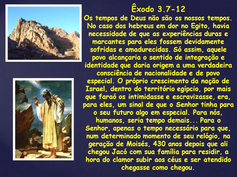Êxodo 3.7-12 Os tempos de Deus não são os nossos tempos. No caso dos hebreus em dor no Egito, havia necessidade de que as experiências duras e marcant