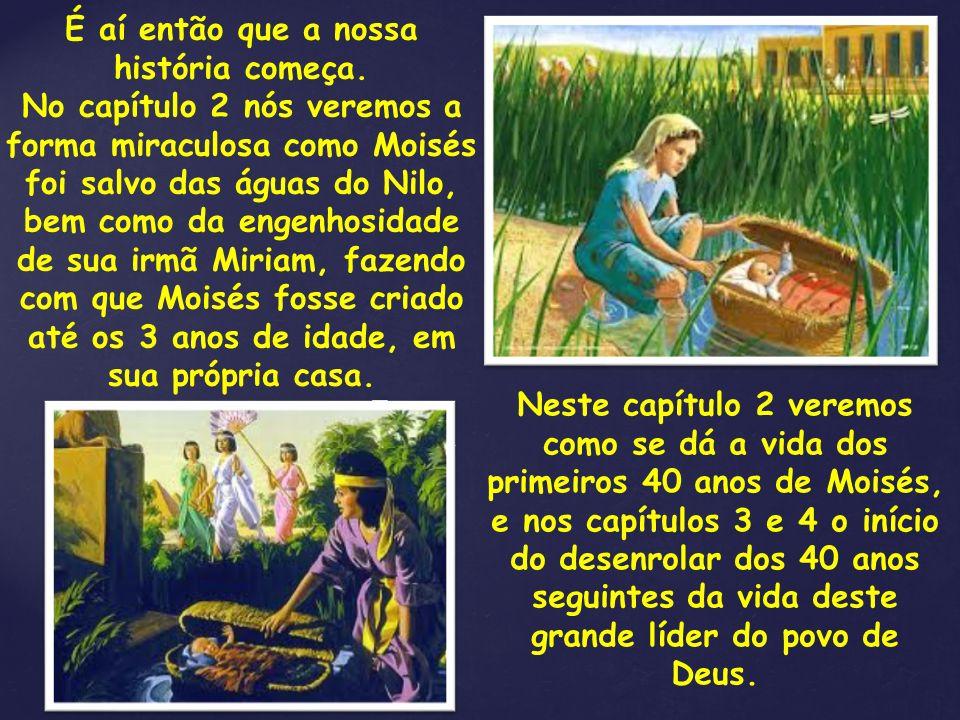 Neste capítulo 2 veremos como se dá a vida dos primeiros 40 anos de Moisés, e nos capítulos 3 e 4 o início do desenrolar dos 40 anos seguintes da vida