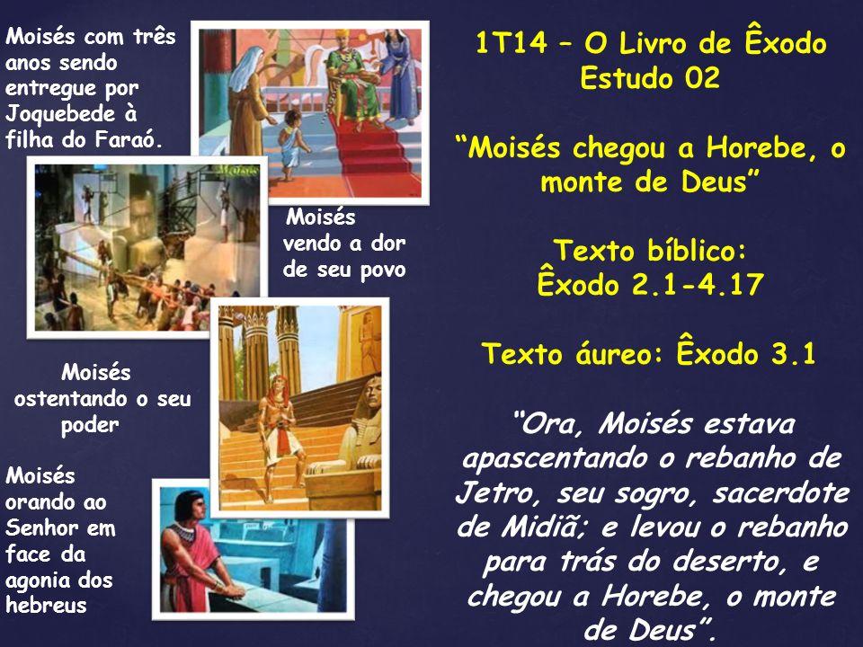 1T14 – O Livro de Êxodo Estudo 02 Moisés chegou a Horebe, o monte de Deus Texto bíblico: Êxodo 2.1-4.17 Texto áureo: Êxodo 3.1 Ora, Moisés estava apas