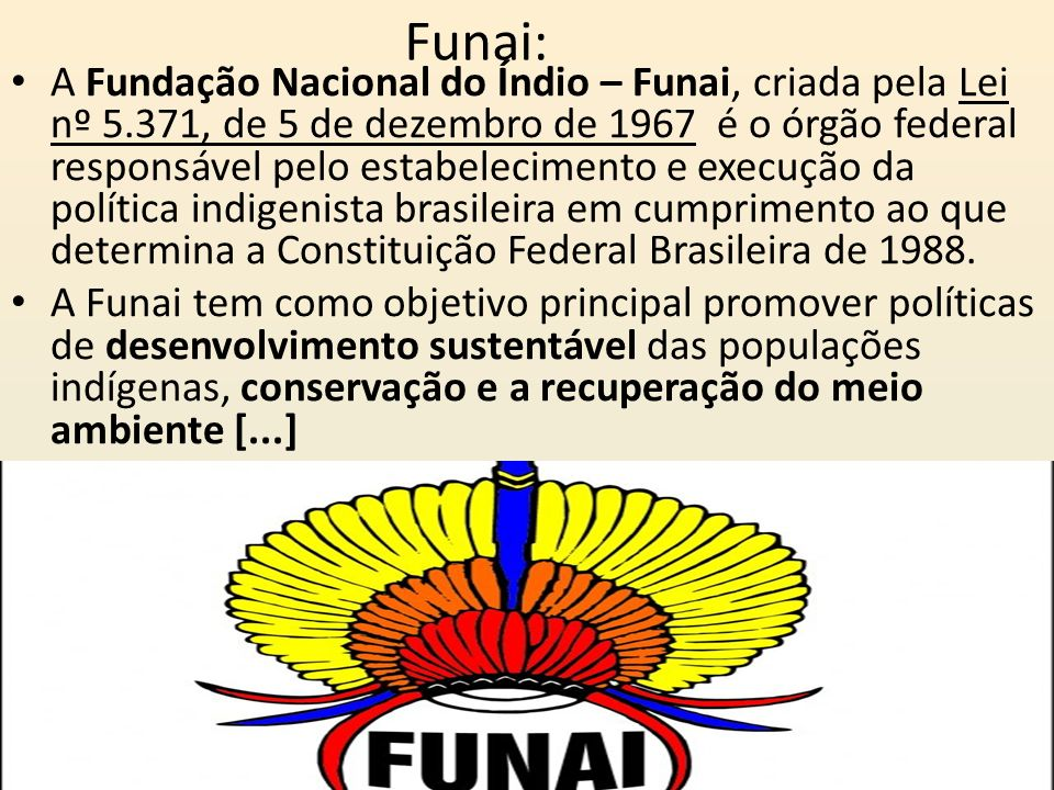 Funai: A Fundação Nacional do Índio – Funai, criada pela Lei nº 5.371, de 5 de dezembro de 1967 é o órgão federal responsável pelo estabelecimento e e