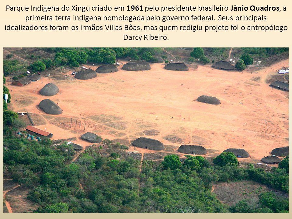 Parque Indígena do Xingu criado em 1961 pelo presidente brasileiro Jânio Quadros, a primeira terra indígena homologada pelo governo federal. Seus prin