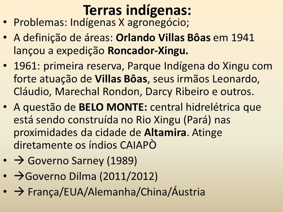 Terras indígenas: Problemas: Indígenas X agronegócio; A definição de áreas: Orlando Villas Bôas em 1941 lançou a expedição Roncador-Xingu. 1961: prime