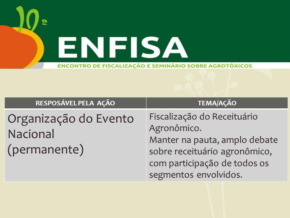 RESPOSÁVEL PELA AÇÃOTEMA/AÇÃO Organização do Evento Nacional (permanente) Fiscalização do Receituário Agronômico. Manter na pauta, amplo debate sobre