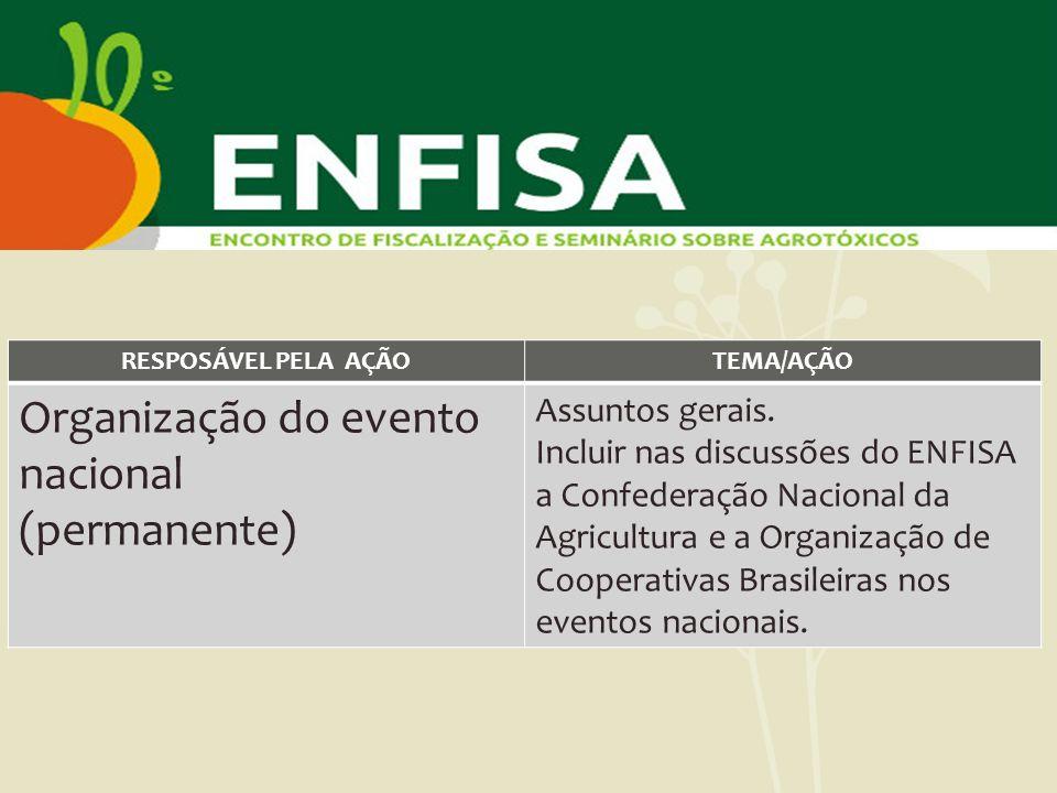 RESPOSÁVEL PELA AÇÃOTEMA/AÇÃO Organização do evento nacional (permanente) Assuntos gerais. Incluir nas discussões do ENFISA a Confederação Nacional da