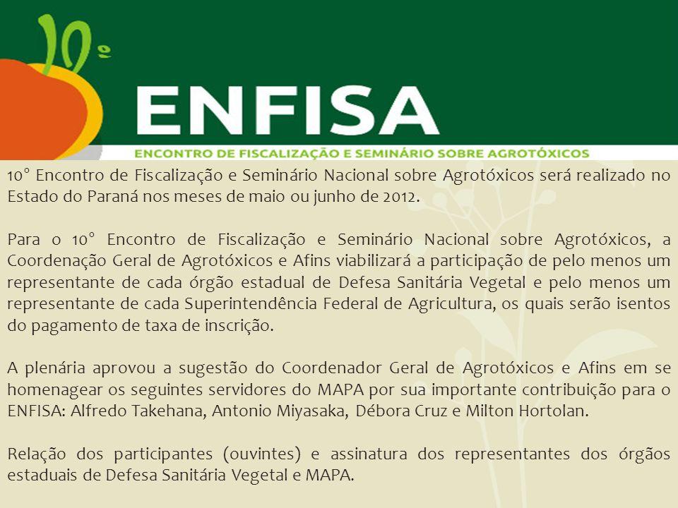 10° Encontro de Fiscalização e Seminário Nacional sobre Agrotóxicos será realizado no Estado do Paraná nos meses de maio ou junho de 2012. Para o 10°