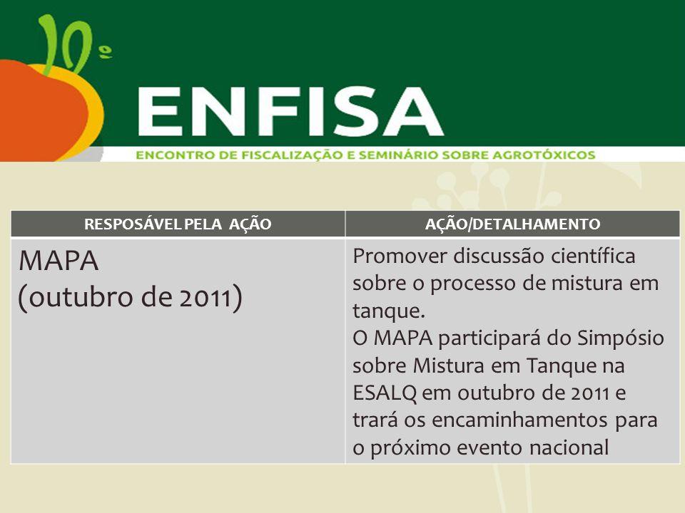 RESPOSÁVEL PELA AÇÃOAÇÃO/DETALHAMENTO MAPA (outubro de 2011) Promover discussão científica sobre o processo de mistura em tanque. O MAPA participará d
