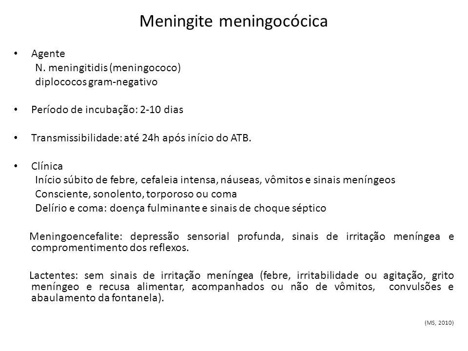 Meningite meningocócica Agente N. meningitidis (meningococo) diplococos gram-negativo Período de incubação: 2-10 dias Transmissibilidade: até 24h após