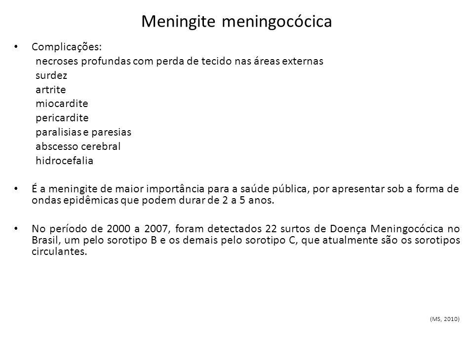 Meningite meningocócica Complicações: necroses profundas com perda de tecido nas áreas externas surdez artrite miocardite pericardite paralisias e par