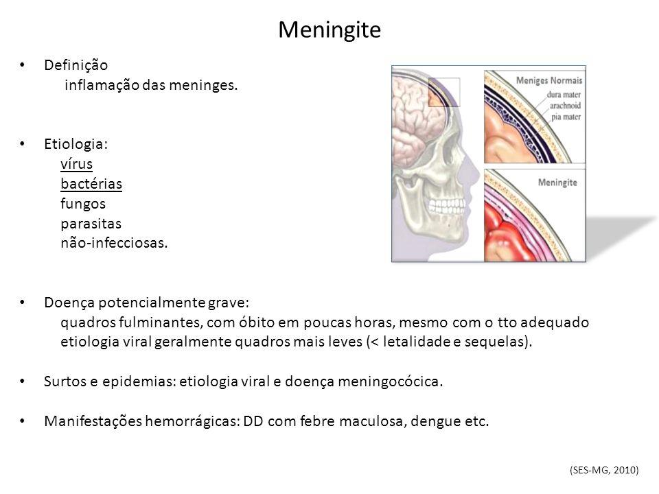 Meningite Definição inflamação das meninges. Etiologia: vírus bactérias fungos parasitas não-infecciosas. Doença potencialmente grave: quadros fulmina