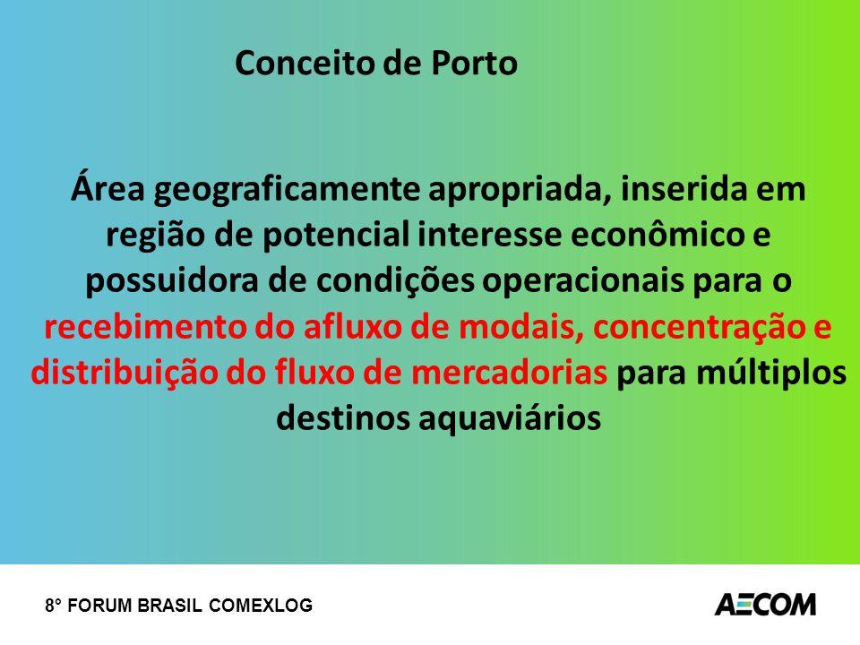 8° FORUM BRASIL COMEXLOG Área geograficamente apropriada, inserida em região de potencial interesse econômico e possuidora de condições operacionais p