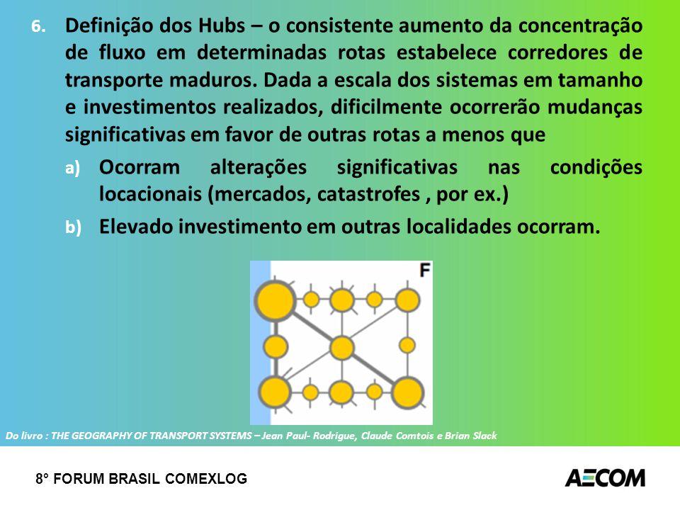 6. Definição dos Hubs – o consistente aumento da concentração de fluxo em determinadas rotas estabelece corredores de transporte maduros. Dada a escal