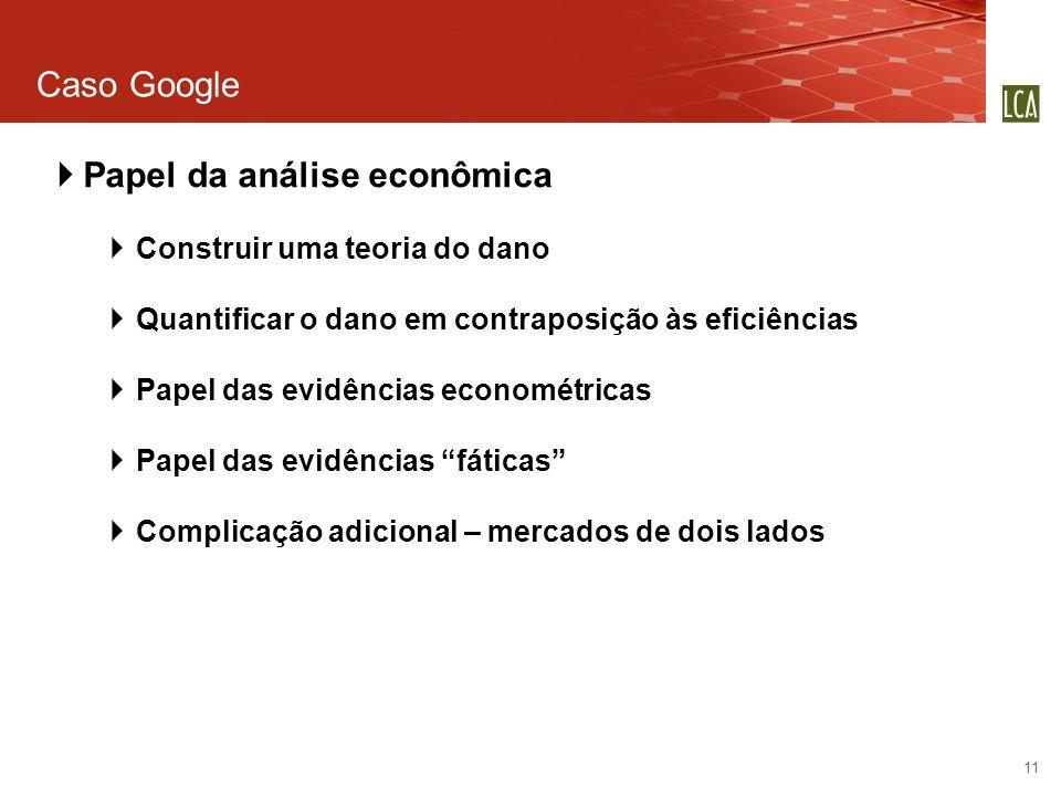 Caso Google 11 Papel da análise econômica Construir uma teoria do dano Quantificar o dano em contraposição às eficiências Papel das evidências economé