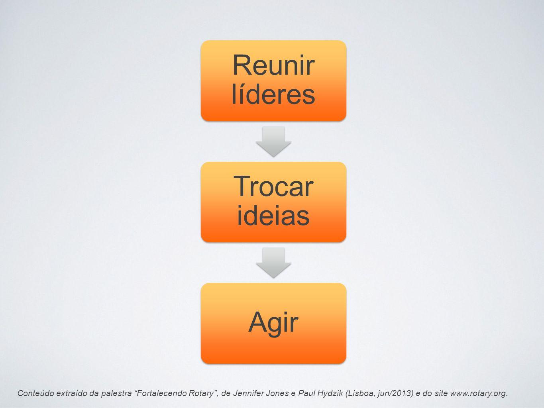 Conteúdo extraído da palestra Fortalecendo Rotary, de Jennifer Jones e Paul Hydzik (Lisboa, jun/2013) e do site www.rotary.org. Reunir líderes Trocar
