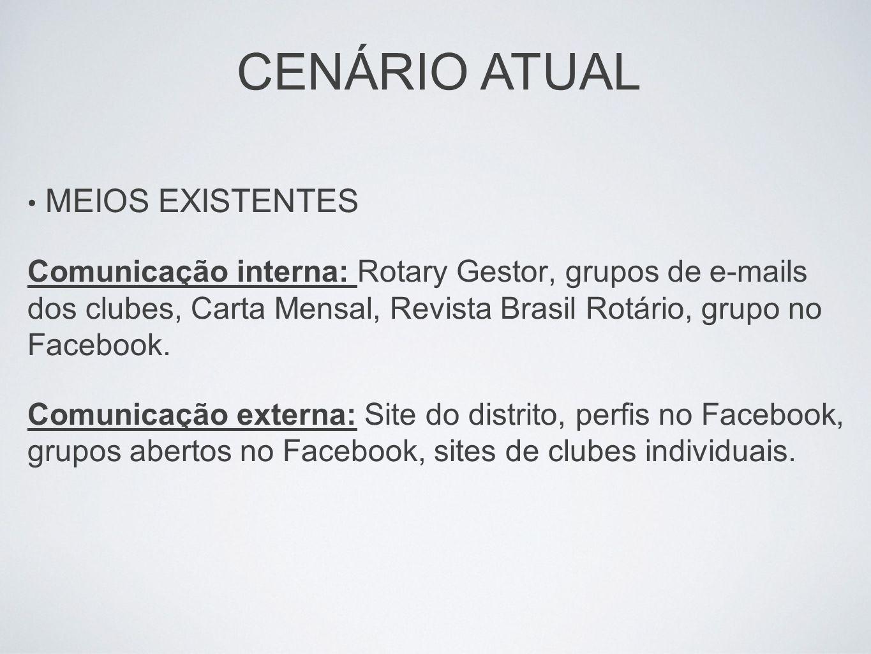 MEIOS EXISTENTES Comunicação interna: Rotary Gestor, grupos de e-mails dos clubes, Carta Mensal, Revista Brasil Rotário, grupo no Facebook. Comunicaçã
