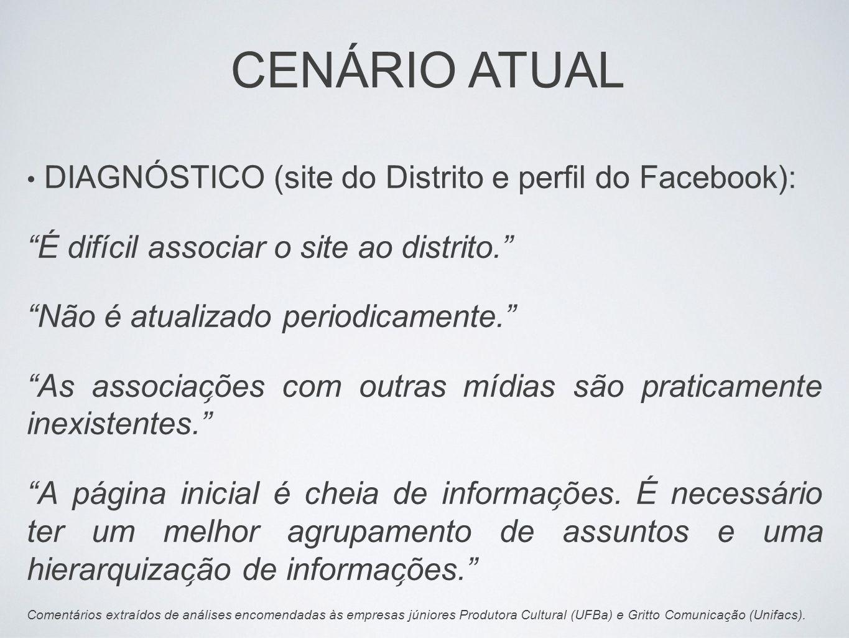 DIAGNÓSTICO (site do Distrito e perfil do Facebook): É difícil associar o site ao distrito. Não é atualizado periodicamente. As associac ̧ ões co