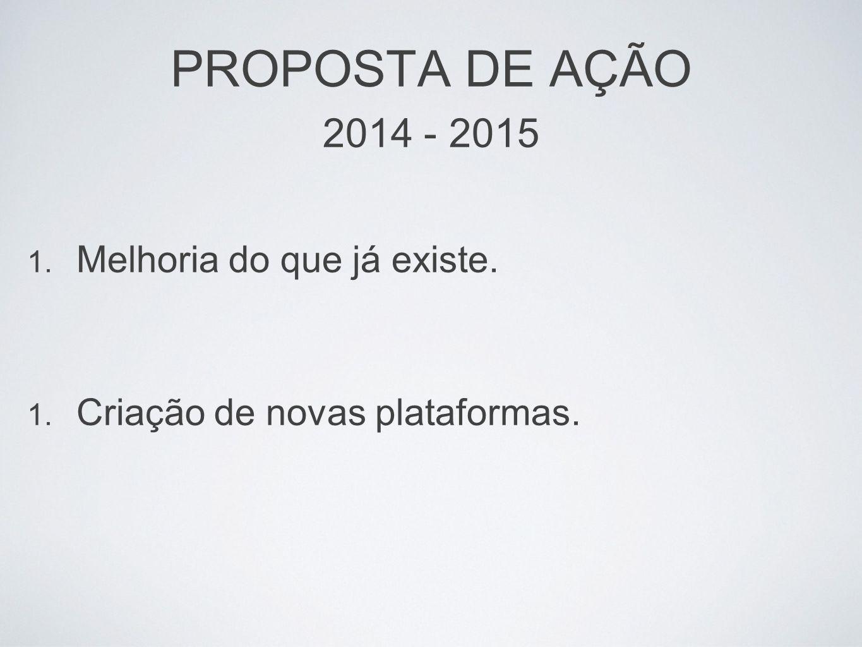 PROPOSTA DE AÇÃO 2014 - 2015 1. Melhoria do que já existe. 1. Criação de novas plataformas.