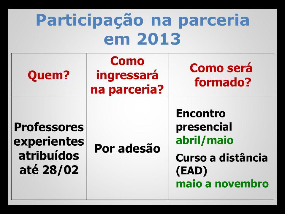 Participação na parceria em 2013 Quem? Como ingressará na parceria? Como será formado? Professores experientes atribuídos até 28/02 Por adesão Encontr