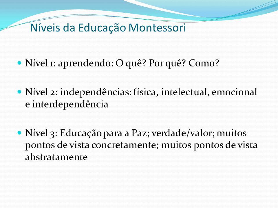 Níveis da Educação Montessori Nível 1: aprendendo: O quê.