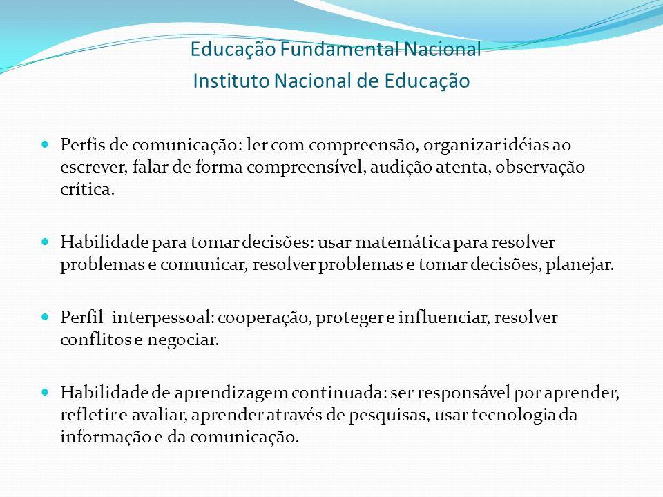 Educação Fundamental Nacional Instituto Nacional de Educação Perfis de comunicação: ler com compreensão, organizar idéias ao escrever, falar de forma compreensível, audição atenta, observação crítica.