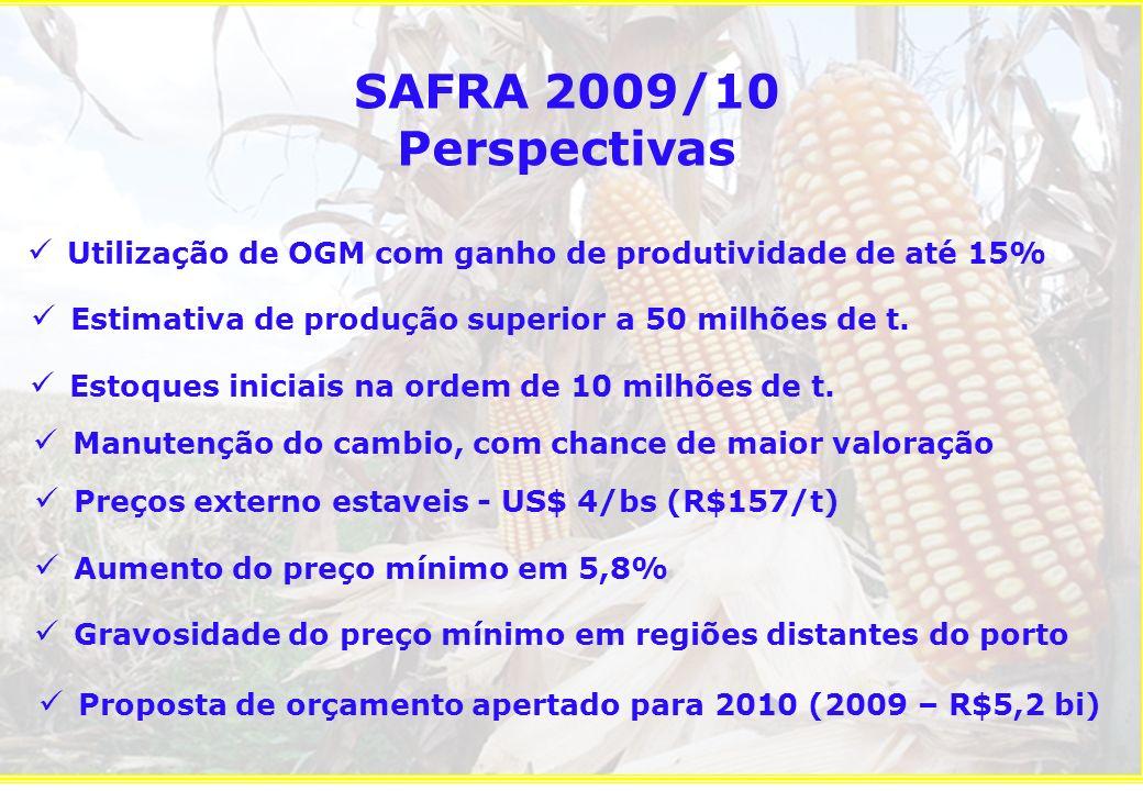 SAFRA 2009/10 Perspectivas Utilização de OGM com ganho de produtividade de até 15% Estimativa de produção superior a 50 milhões de t.