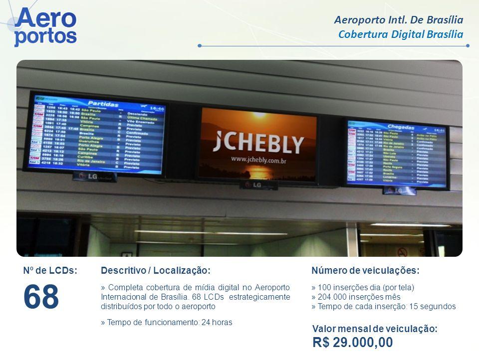 Aeroporto Intl. De Brasília Cobertura Digital Brasília Nº de LCDs: 68 Descritivo / Localização: » Completa cobertura de mídia digital no Aeroporto Int