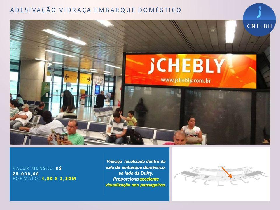 Painel Sala de Desembarque VALOR MENSAL: R$12.000,00 VALOR PROD./INST.:R$1.500,00 FORMATO: 2,00 X 1,50M Painel localizado na sala de desembarque do Aeroporto atingindo todos os passageiros de que desembarcam no Aeroporto..