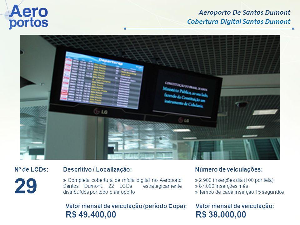 Aeroporto De Santos Dumont Cobertura Digital Santos Dumont Nº de LCDs: 29 Descritivo / Localização: » Completa cobertura de mídia digital no Aeroporto