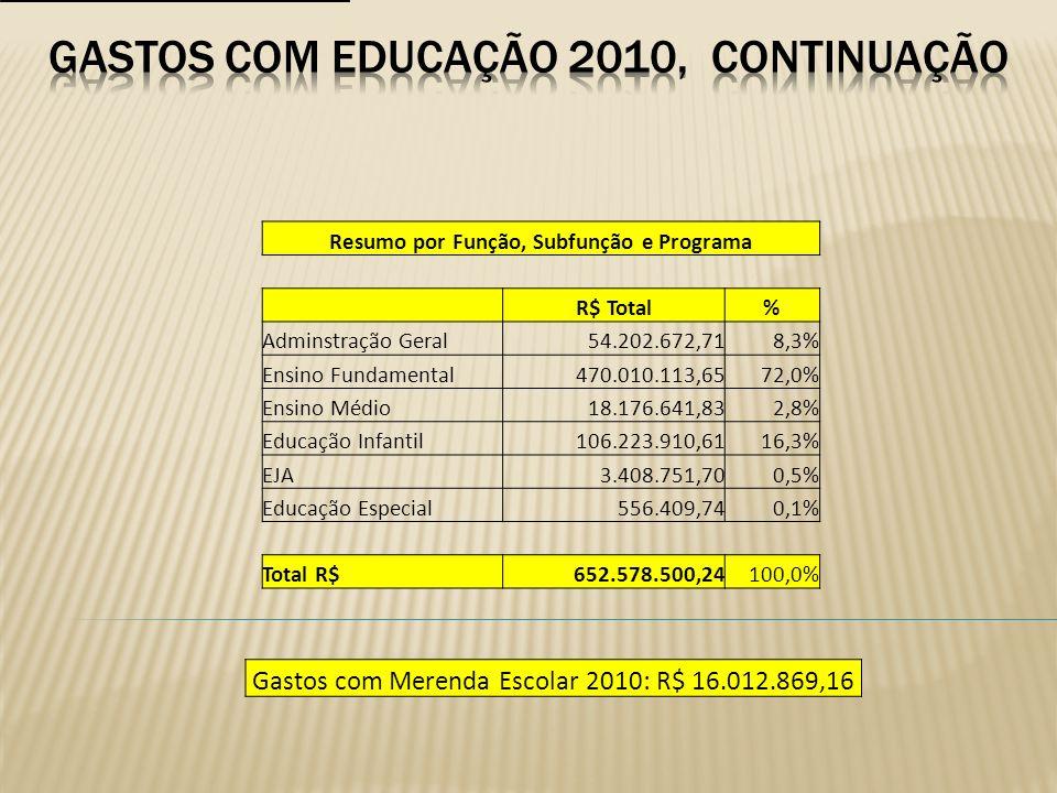 Resumo por Função, Subfunção e Programa R$ Total% Adminstração Geral54.202.672,718,3% Ensino Fundamental470.010.113,6572,0% Ensino Médio18.176.641,832