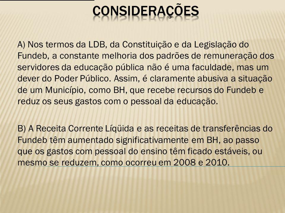 A) Nos termos da LDB, da Constituição e da Legislação do Fundeb, a constante melhoria dos padrões de remuneração dos servidores da educação pública nã