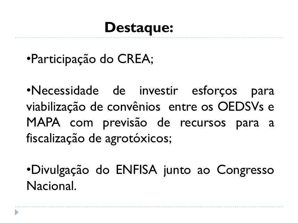 Destaque: Participação do CREA; Necessidade de investir esforços para viabilização de convênios entre os OEDSVs e MAPA com previsão de recursos para a